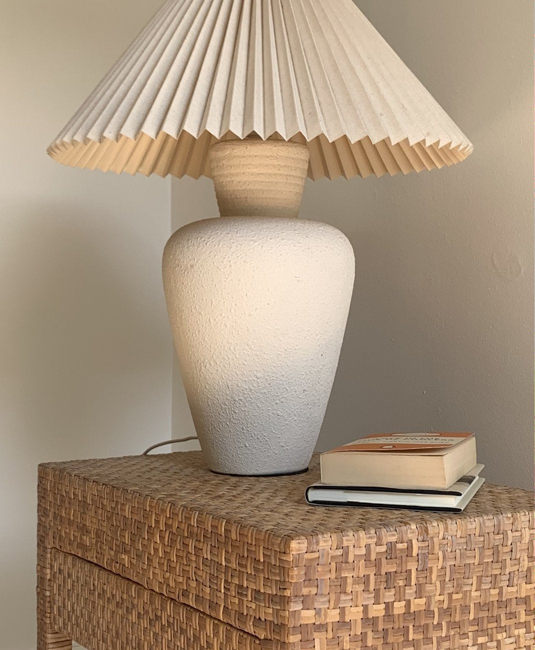 Large Textured Lamp With Pleated Shade