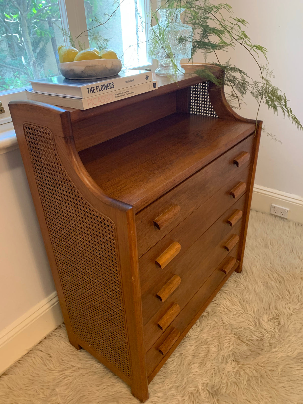 Vintage Rattan and Timber Drawers