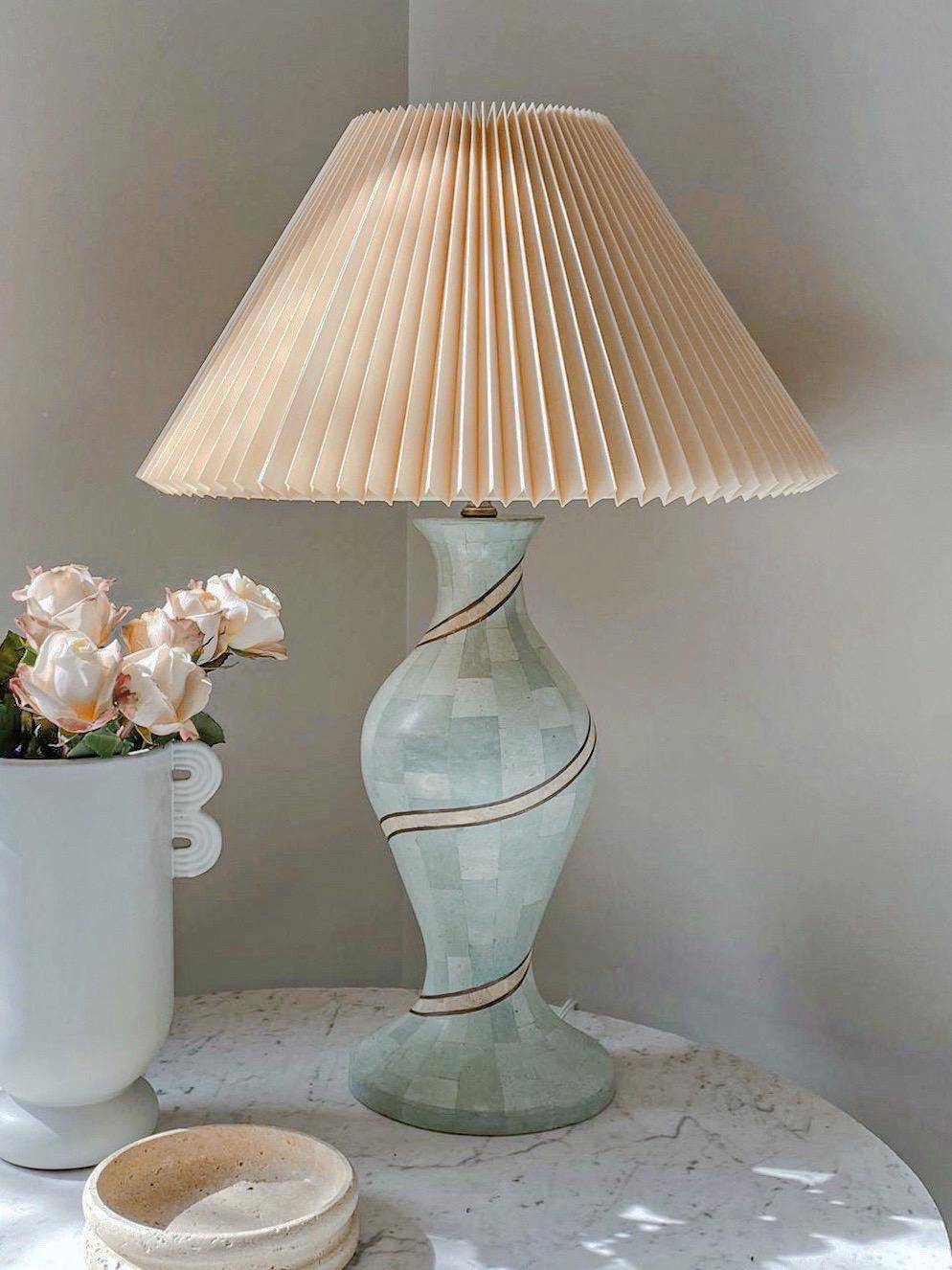 Fossil Lamp with Pleated Shade