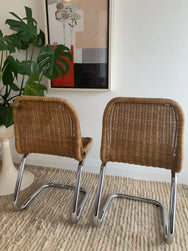 Rare Rohe Noordwolde Rattan And Chrome Tubular Dining Chairs by