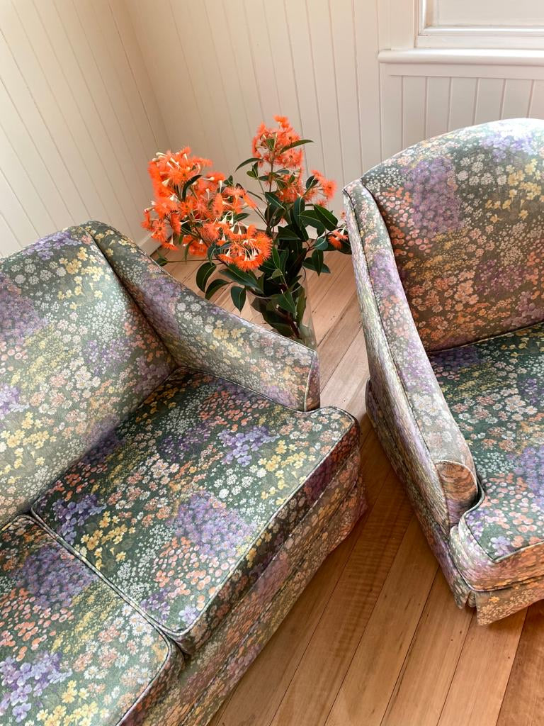 Vintage 70s Velvet Floral Sofa and Arm Chairs