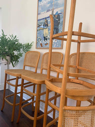 Pair of Rattan Bar Stool - one left
