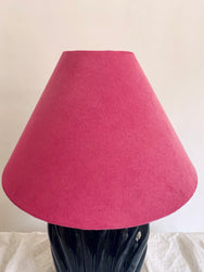 Glossy Black Lamps with Pink Suede Shades – One Left