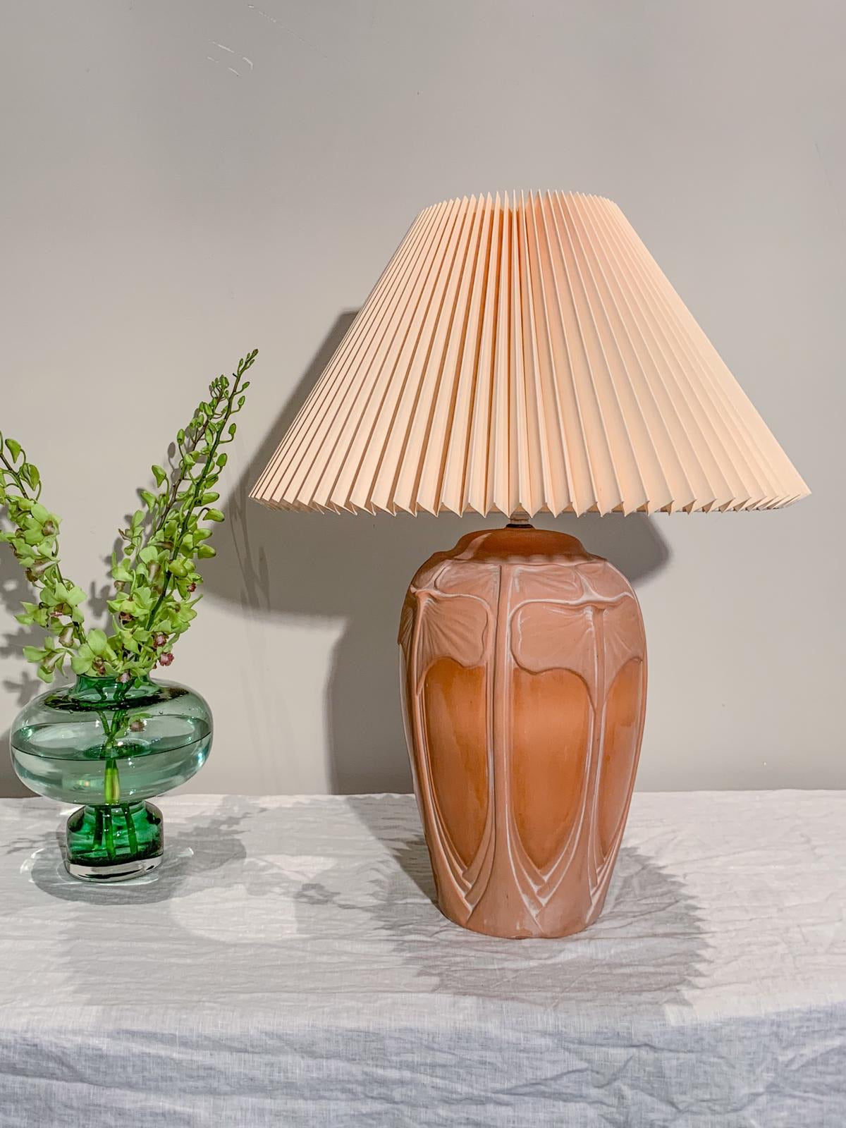 Terra-cotta lamp with pleated shade