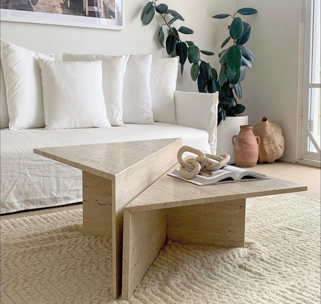 Two-Tier Travertine Coffee Table