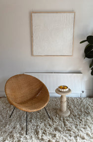 Original Mid Century Rattan and Iron Saucer Chair