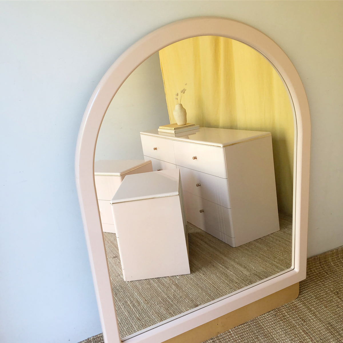 Pastel Pink Chest of Drawers with Mirror