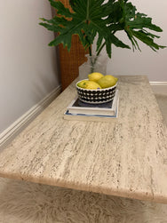 Large Vintage Unfilled Travertine Coffee Table
