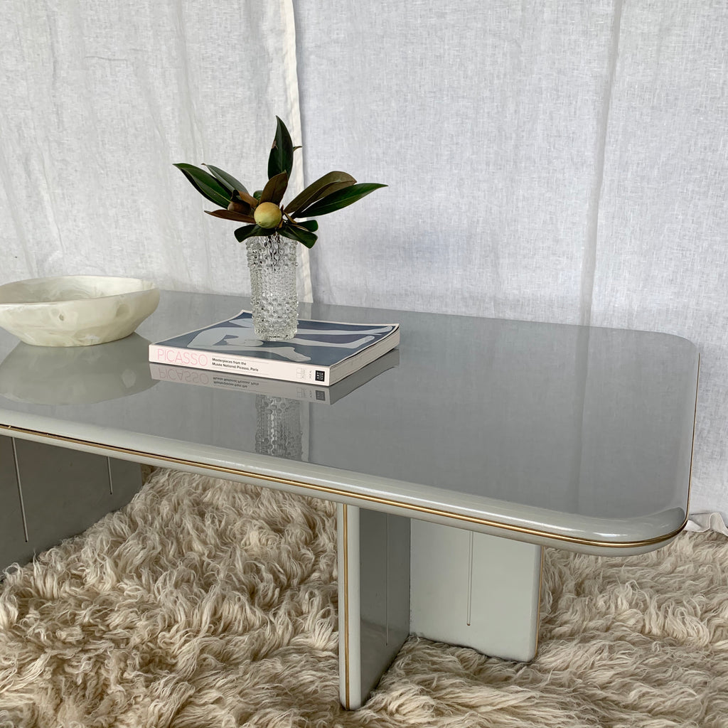 Vintage 1980's Acrylic Coffee Table with Brass Inlay