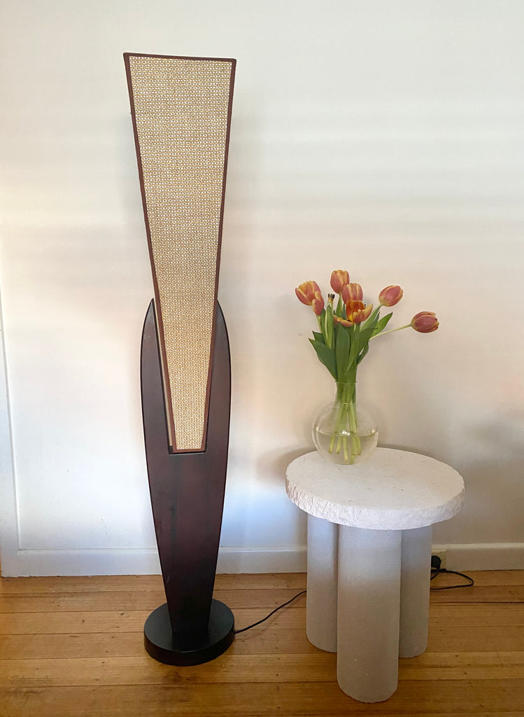 Tall Wood Rattan Floor Lamp