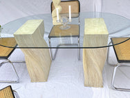 Cane & Glass Dining Table
