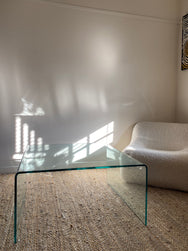 Glass Waterfall Edge Coffee Table
