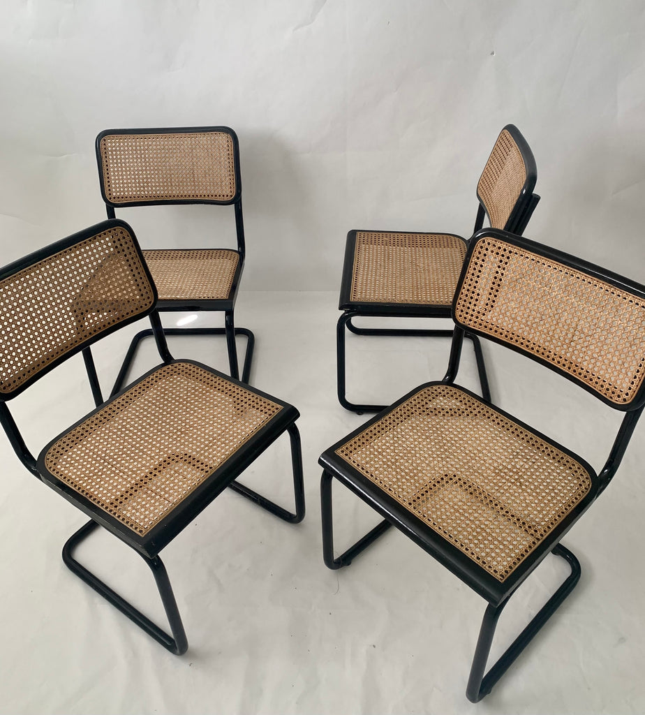 Set of Four Black Cantilever Chairs