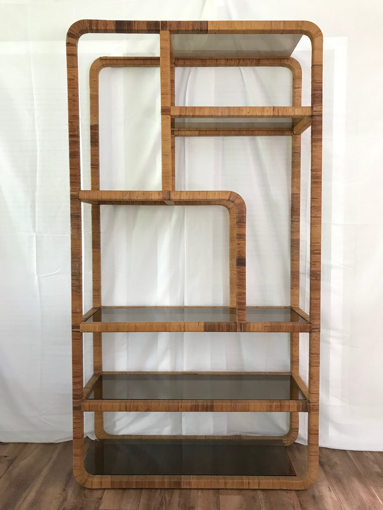 Large Scale Rattan Wrapped Mid-Century Etagere