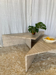 Vintage Italian Modular Travertine Coffee Table by Up and Up, circa 1970s