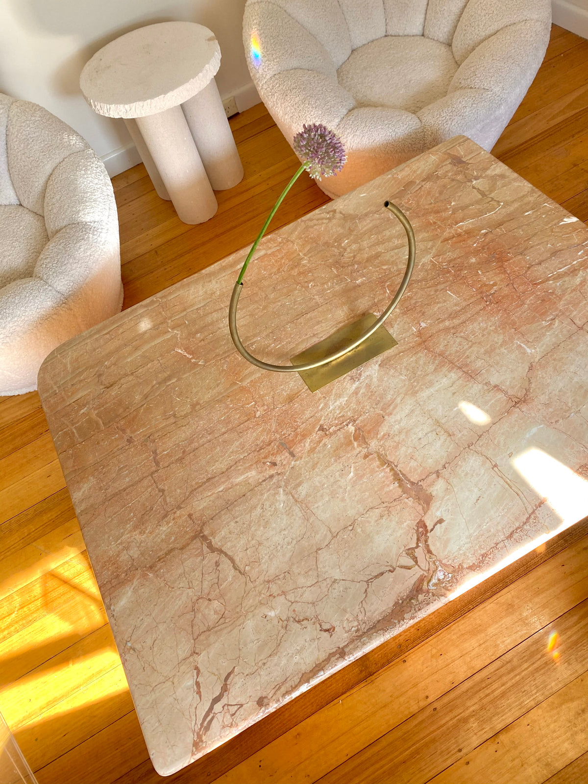 Large Pink Marble Coffee Table