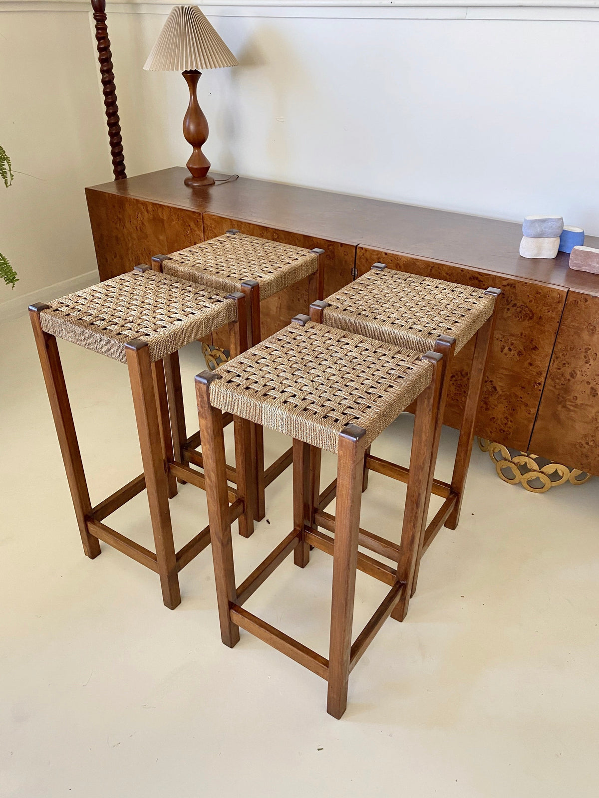 Set of Vintage Timber & Woven Kitchen Stools
