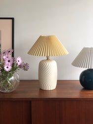 Swirl Lolly Lamp with Cream Pleated Shade