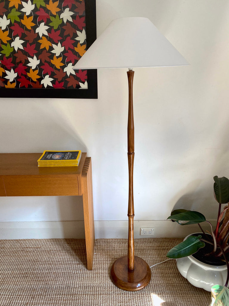 Teak Bamboo-form Floor Lamp
