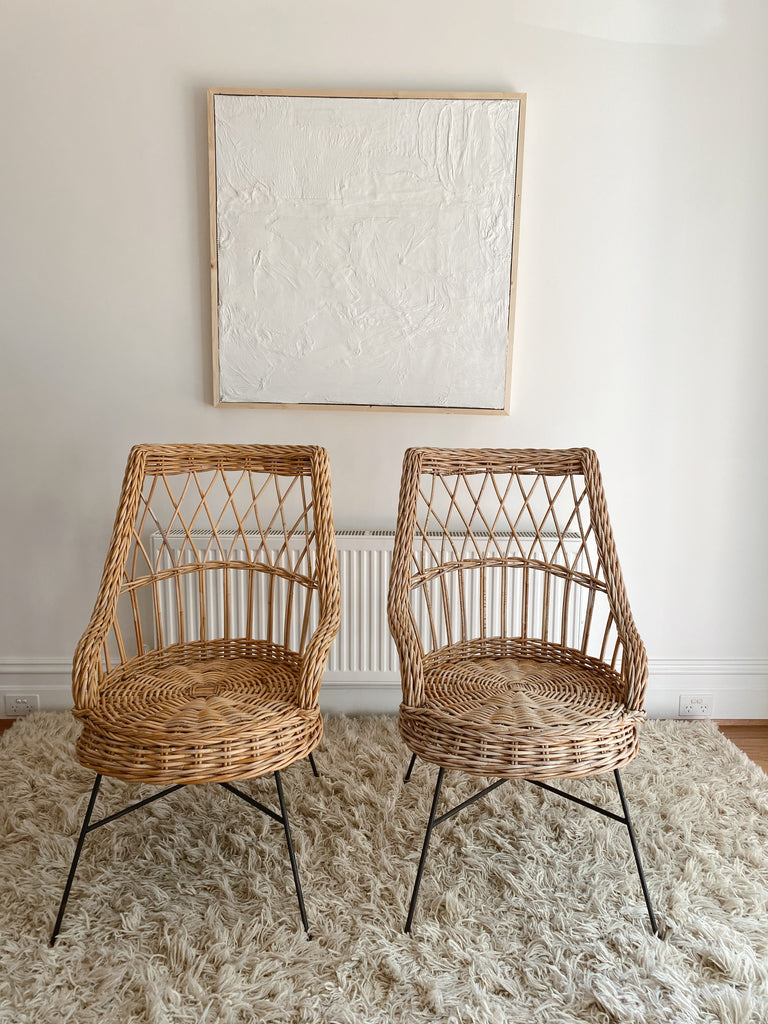 Vintage Cane and Iron Chairs