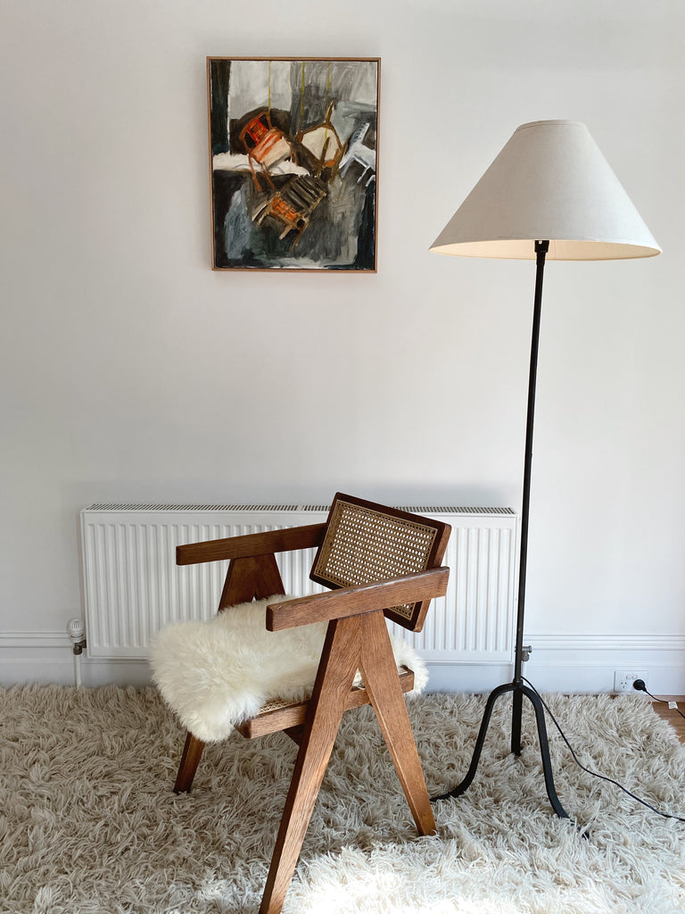 Iron Floor Lamp with Linen Shade
