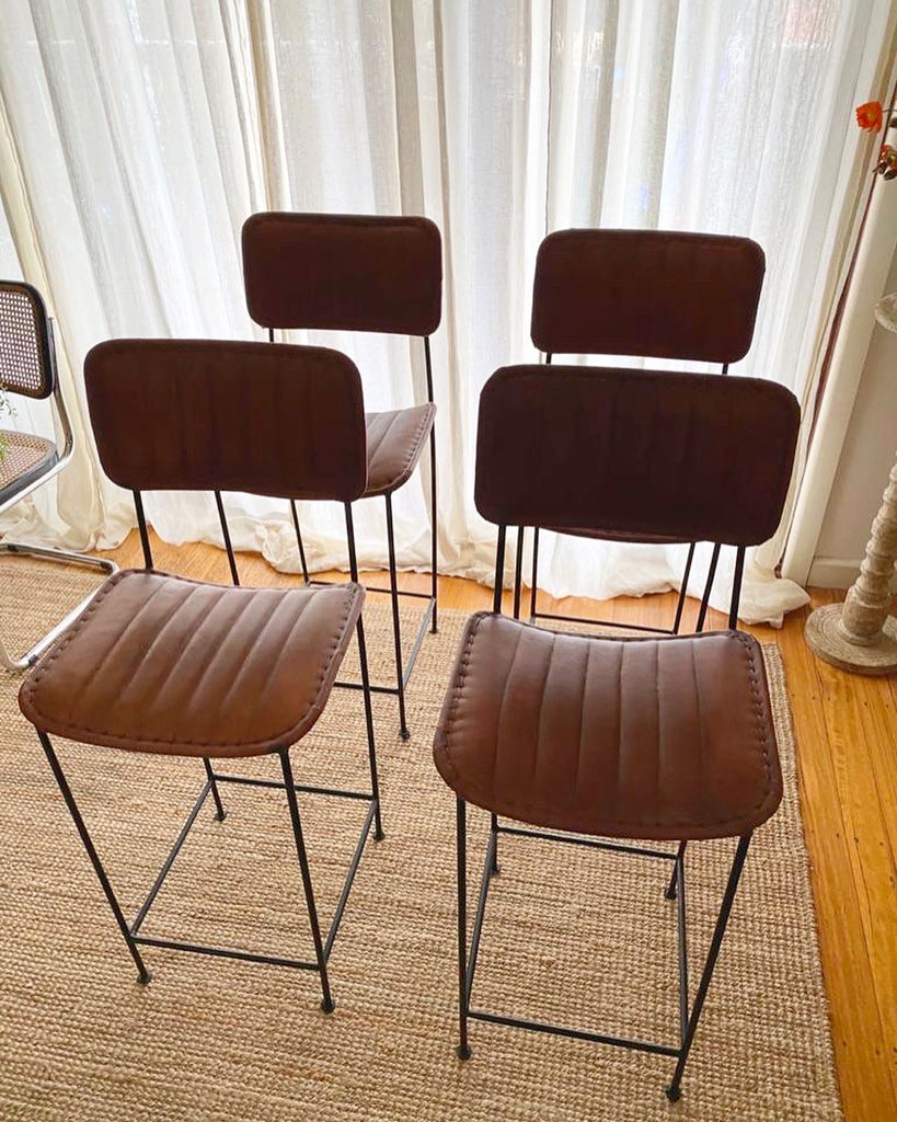 Mid Century Leather Stool
