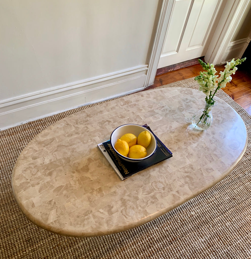 Oval Fossil & Marble Coffee Table