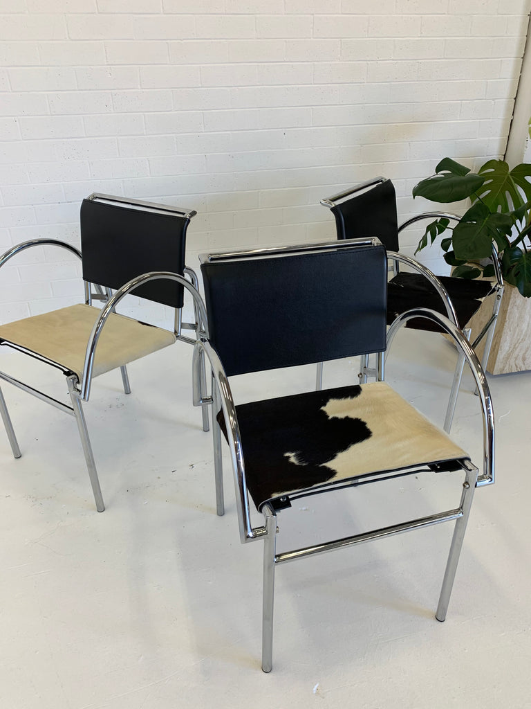 Tubular Chrome Chairs with Cowhide Seats