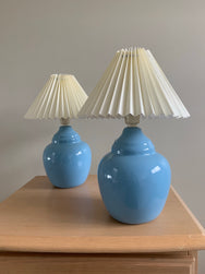 Sky-Blue Vintage Pleated Lamps