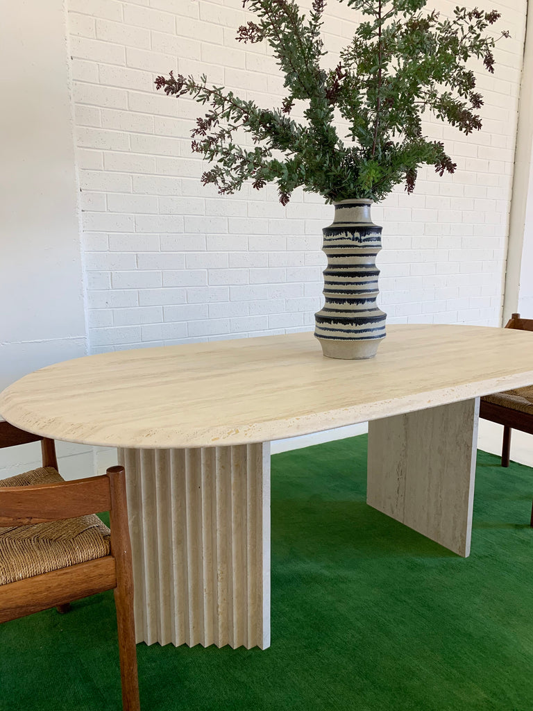 Incredible Honed Travertine Oval Dining Table