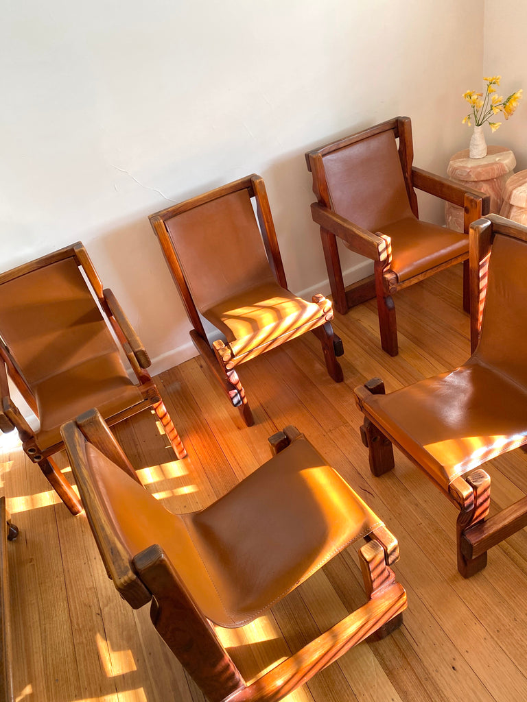 Vintage Post & Rail Leather Sling Chairs
