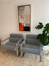 Eero Aarnio for Mobel Italia Lounge Chairs in Boucle