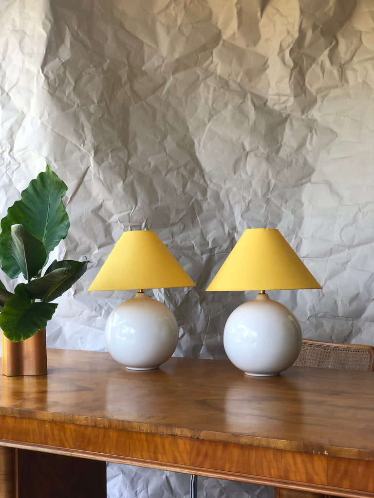 Ceramic Lamp with Sunshine Yellow Shade