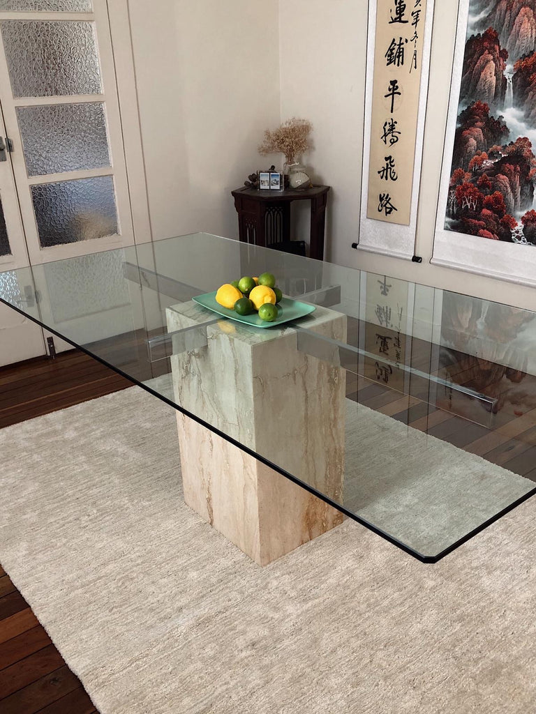 Vintage Travertine and Chrome Dining Table