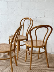 Set of Four Bentwood Style Rattan Dining Chairs