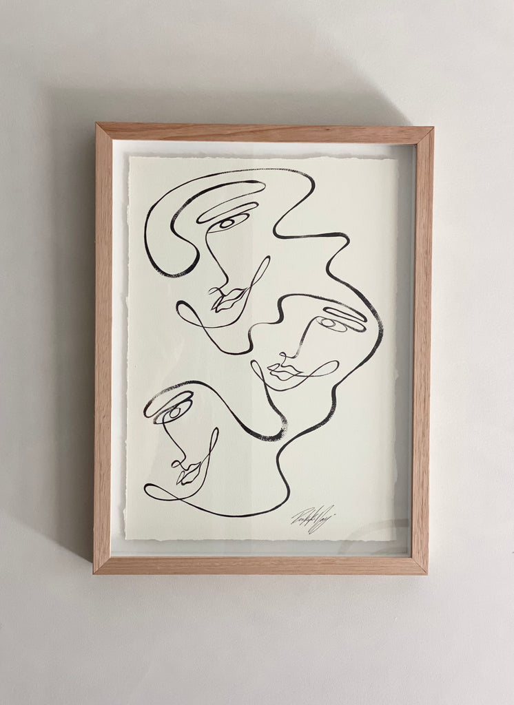 """Three of us"" By Rikki Day ~ Float framed in Tasmanian Oak, limited edition"