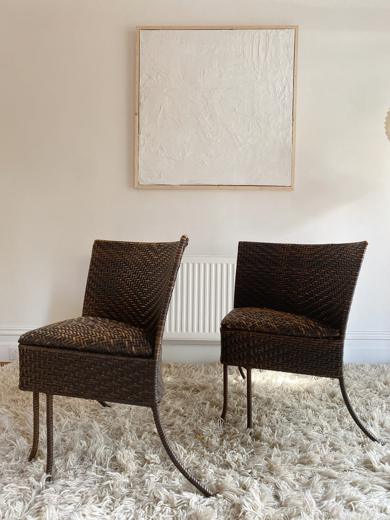 Tri-Legged Wicker Chairs