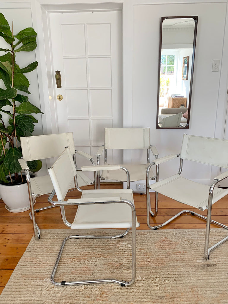 White Leather Cantilever Chairs
