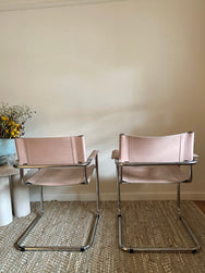 Marcel Breuer Blush Leather Chairs