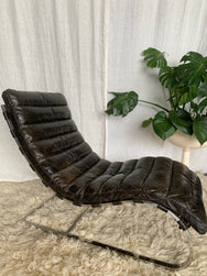 Vintage Leather Curved Chaise Lounge