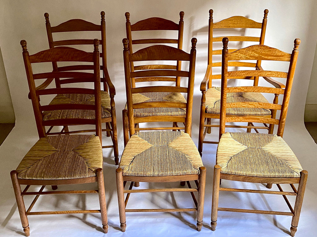 Set of 6 Ladderback Dining Chairs
