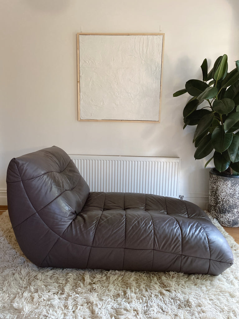 Incredible Vintage Italian Leather Lounger