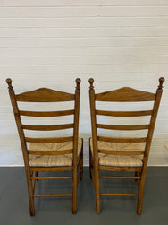 Eight Vintage Timber Rush Dining Chairs