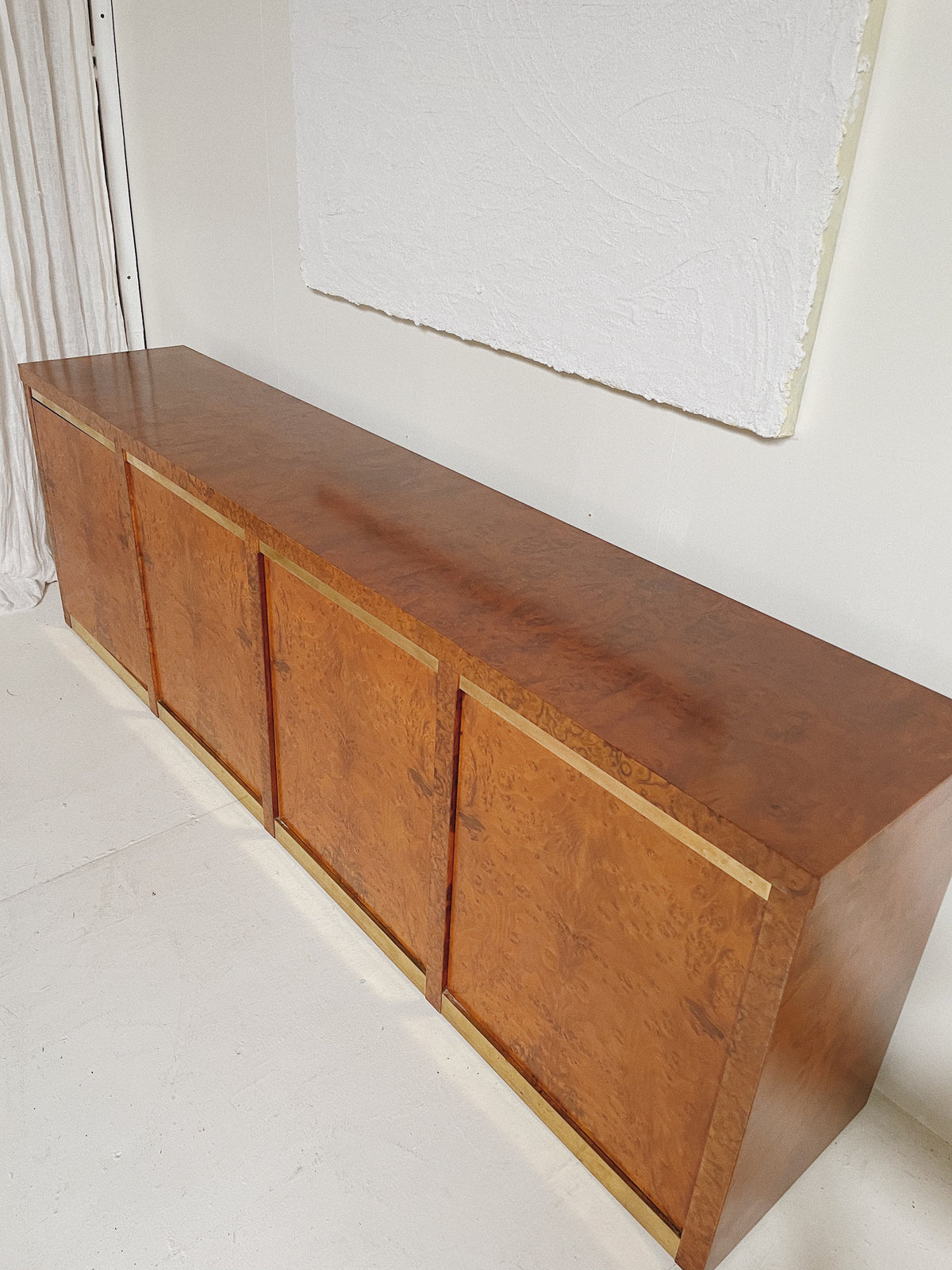Long Vintage Burl Sideboard