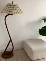 Vintage Bamboo Lamp with Mother Of Pearl Shade