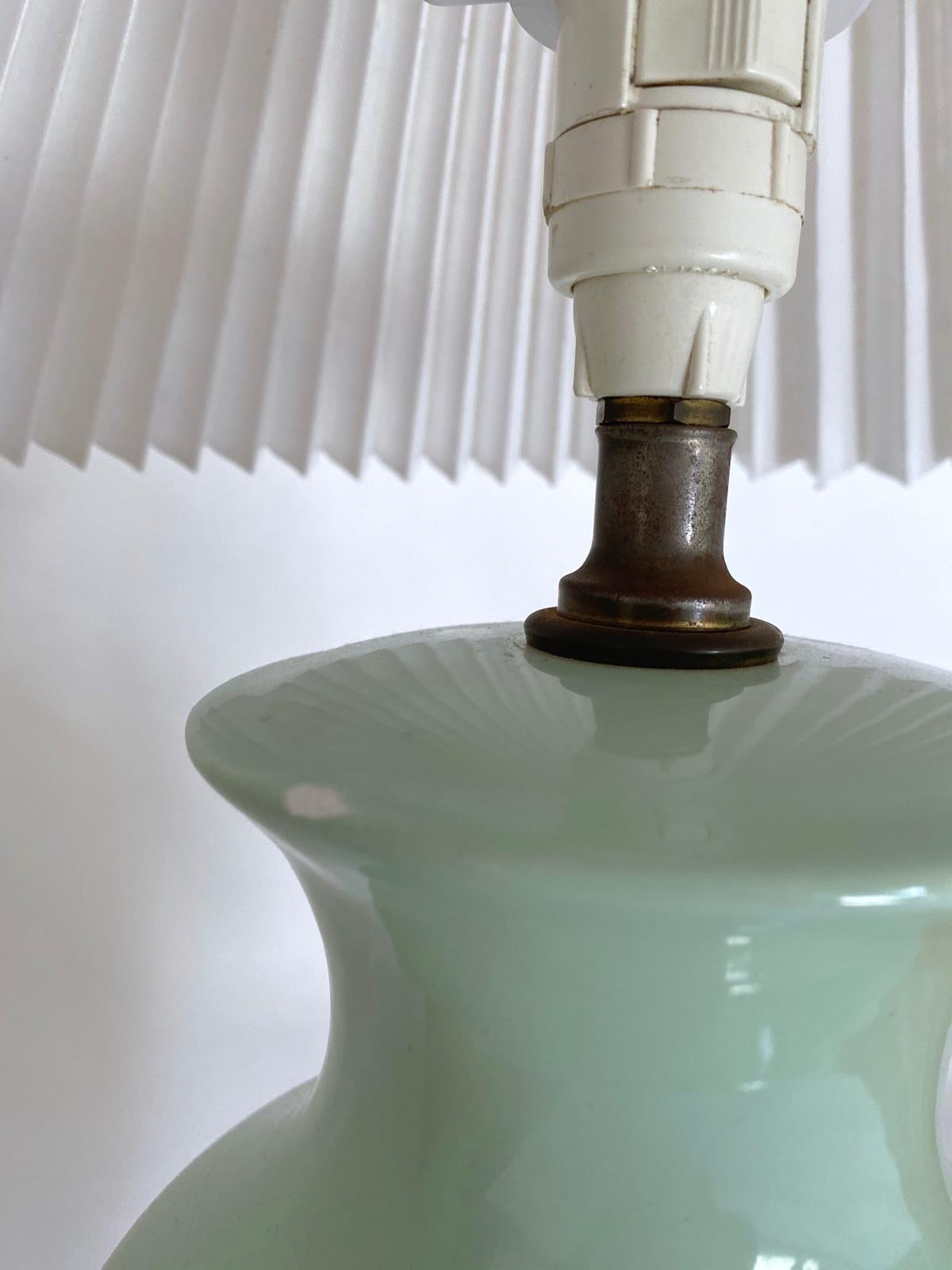 Pair of Green Pleated Lamp
