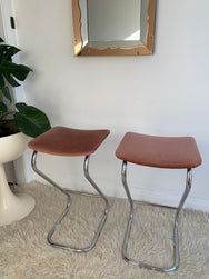 Vintage Velvet and Chrome Tubular Stools