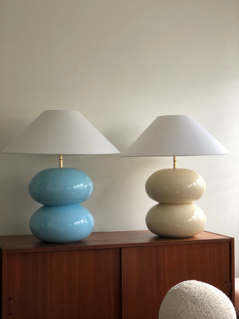 Powder Blue Double Bubble Lamp with White Conical Shade
