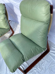 Tessa T8 - Sage Green Leather Armchairs