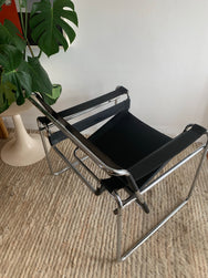 Vintage Black Leather Wassily Chair
